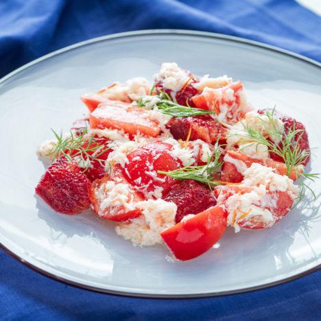 華やか!フルーツトマトの赤が冴える。<br/>Vol.4 フルーツトマトとオレンジの蟹ドレッシングサラダ