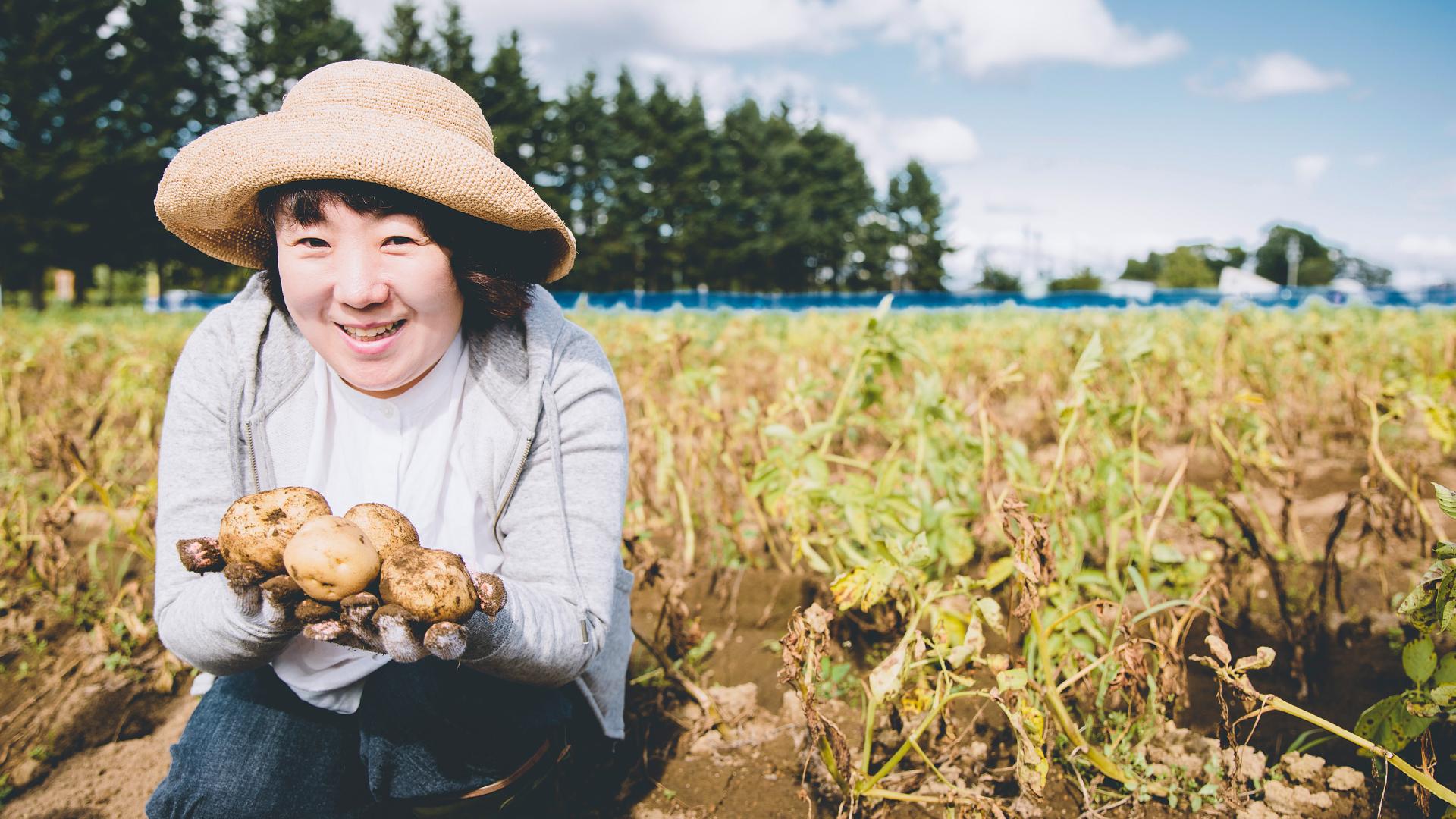 「じゃがいもとえだまめを収穫して畑で食べよう」を体験しました