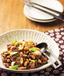 牛肉と大豆のザーサイ炒め