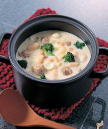 大福豆とミートボールのクリーム煮