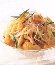 イカとみょうがの冷製スパゲッティ