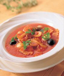 とり肉とパスタのトマトシチュー