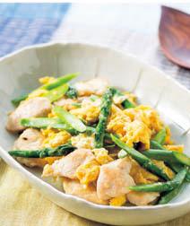 グリーンアスパラと鶏肉の塩こうじ炒め