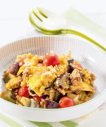 ミニトマトとひき肉の卵とじ