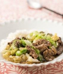 レタスと牛肉の中華丼