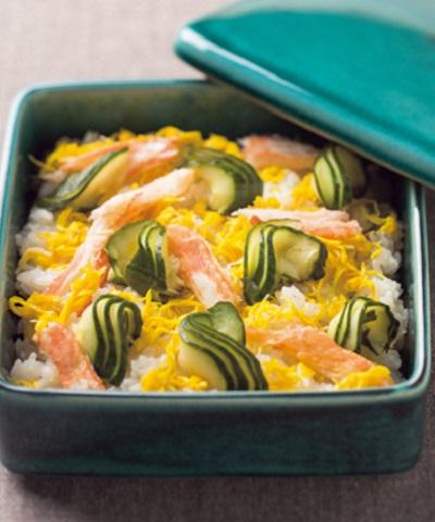 ピクルスとカニの散らし寿司