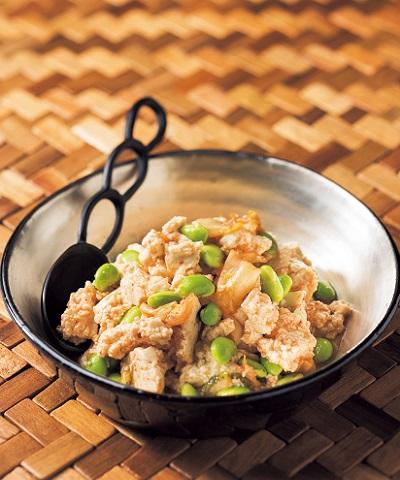 豆腐と枝豆のキムチサラダ