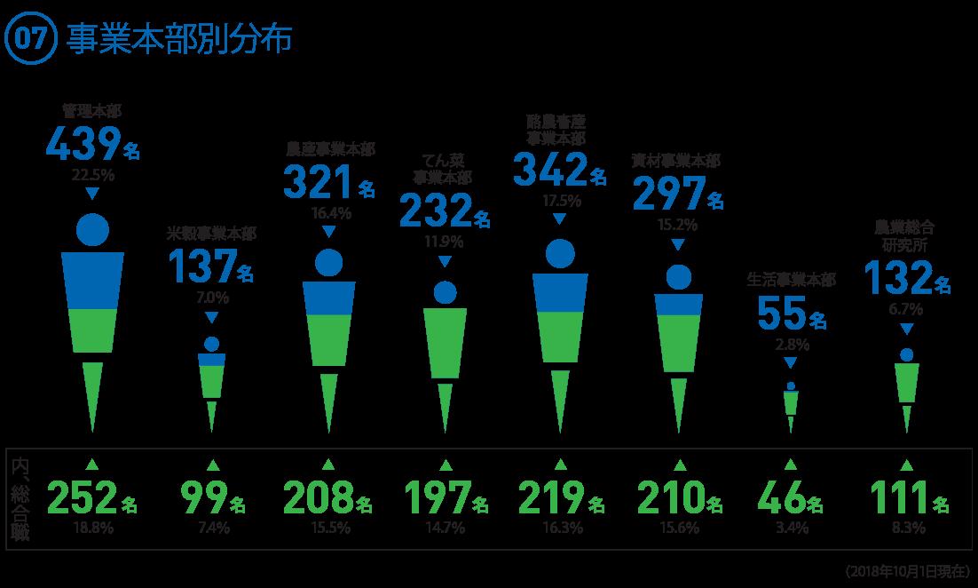 (07)  事業本部別職員数 ◯管理本部 439名 22.5% (内、総合職 252名 18.8%) ◯米穀事業本部 137名 7.0% (内、総合職 99名 7.4%) ◯農産事業本部 321名 16.4% (内、総合職 208名 15.5%) ◯てん菜事業本部 232名 11.9% (内、総合職 197名 14.7%) ◯酪農畜産事業本部 342名 17.5% (内、総合職 219名 16.3%) ◯資材事業本部 297名 15.2% (内、総合職 210名 15.6%) ◯生活事業本部 55名 2.8% (内、総合職 46名 3.4%) ◯農業総合研究所 132名 6.7%(6.75%) (内、総合職 111名 8.3%)(2018.10.1現在)